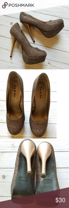 Eva and Zoe bronze glitter shimmer shiny heels Eva and Zoe bronze shiny glitter platform heels. Excellent used condition! Barely worn. Only slight wear on the soles. Does not come with box. Eva and Zoe Shoes Heels