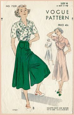1930s vintage sewing pattern wide leg trousers or culotte skirt & blouse bust 34 b34 repro by LadyMarloweStudios on Etsy