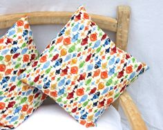 Little Multicoloured Fish Print Cushion