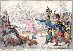 In Exit liberté à la François (1799), James Gillray caricatured Napoleon and his grenadiers driving the Council of Five Hundred from the Orangerie. Each member had to be at least 30 and a third of them would be replaced annually. Napoleon Bonaparte led a group of grenadiers who drove the Council from its chambers and installed himself as leader of France as its First Consul in the coup of 18 Brumaire.
