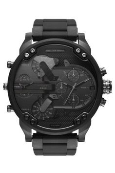 Toss out your old, cheap, and ugly watches and grab yourself a Diesel Men's Mr. Daddy Diesel has done it yet again with this black Diesel Watches For Men, Luxury Watches For Men, Rugged Watches, Black Watches, Women's Watches, Wrist Watches, Fashion Watches, Diesel Mr Daddy Watch, Black Face Watch