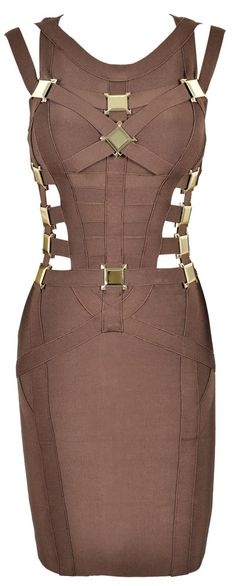 'Yasmin' Brown & Bronze Metal Cut Out Bandage Dress - As Seen On Lucy Meck