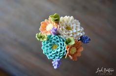 Dahlia Daisy & Lavender Bouquet / Handmade Felt by LeaphBoutique