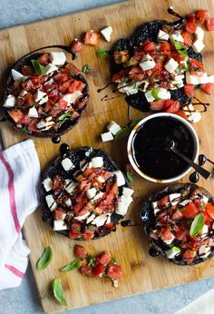 Juicy portobello mushrooms topped with fresh caprese salad! Simple, yet flavorful side that is delicious all summer long!