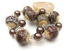 Chocolate Brown Necklace, Artisan Lampwork Beads,Swarovski Pearls, Coffee, Cappuccino, Sterling Silver - CAPPUCCINO