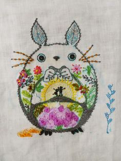 "shinyfabulousdarling: ""stitchingsanity: ""broderiemyworld: ""I love Totoro! Found on doknommeaw.blogspot.nl "" A bit of a freaky movie but whatever - lovely embroidery! "" great mix of stitches """