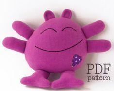 Stuffed animal sewing pattern, soft toy pattern, baby toy pattern, softie tutorial, easy sewing pattern, monster plush pattern PDF