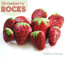 Strawberry Protectors... I think these strawberry painted rocks basically make the birds think strawberry's are ready, try to eat the rocks, think 'hmm, her strawberry's are s**t this year* and then when your actually strawberry's ripen, they leave them alone... must must do this