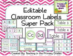 Cute classroom labels in pink, blue, green and purple chevron along with a student friendly font. $