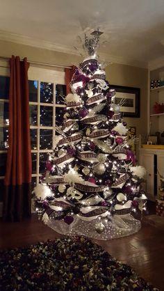 Purple black and silver Christmas tree Purple Christmas Tree Decorations, Black Christmas Trees, Ribbon On Christmas Tree, Beautiful Christmas Trees, Holiday Tree, All Things Christmas, Xmas, Christmas Design, Celebrating Christmas