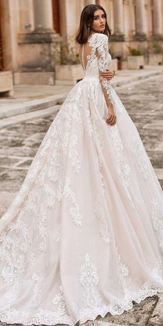 24 Best Lace Wedding Dresses With Sleeves ❤ lace wedding dresses with ball gown illusion back blush navibluebridal ❤ Wedding Dress Suit, Lace Wedding Dress With Sleeves, Top Wedding Dresses, Amazing Wedding Dress, Bridal Dresses, Wedding Gowns, Amazing Dresses, Tattoo Wedding Dress, Wedding Lace