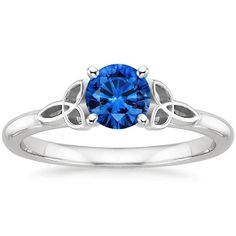 --> 18K White Gold Sapphire Celtic Love Knot Ring, top view