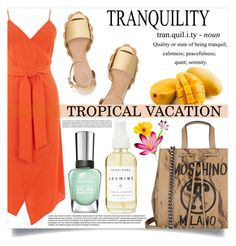 """""""Tropical Vacation"""" by mistressofdarkness ❤ liked on Polyvore featuring Warehouse, Tory Burch, Moschino and A Weathered Penny"""