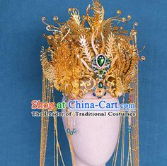 Chinese Ancient Hair Jewelry Accessories Hairpins Headwear Headdress Royal Crown for Women Japanese Wedding Kimono, Crown For Women, Magical Jewelry, Golden Jewelry, Chinese Clothing, Hanfu, Jewelries, Hair Jewelry, Headdress