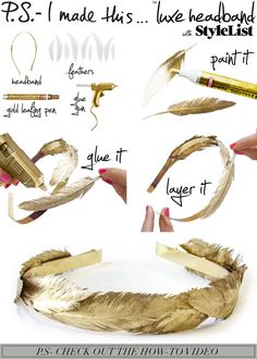 Gold feather headband diy of course Feather Headband, Diy Headband, Headbands, Headband Tutorial, Feather Garland, Feather Crown, Leaf Crown, Feather Hair, Diy Tutorial