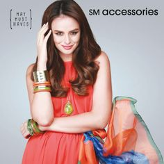What Georgina is wearing: - Gold Arm Bracelets - Orange Stacked Bangles - Green Stacked Bangles - Blue and Orange Shawl - Green Drop Pendant #SMaccessories #GeorginaWilson