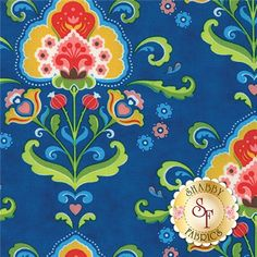 Fancy is a collection by Lily Ashbury for Moda Fabrics. This fabric features colorful floral damasks on a blue background.