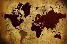 Old Manuscript of World Map - Wall Mural & Photo Wallpaper - Photowall World Map Mural, Kids World Map, World Map Wallpaper, Old World Maps, Photo Wallpaper, Wall Wallpaper, Wallpaper Ideas, Color World Map, Unique Maps