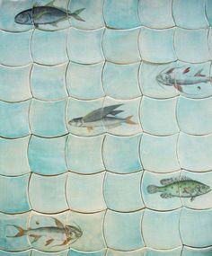 ღღ Love these Coastal inspired tiles Coastal Homes, Coastal Living, Coastal Decor, Clay Tiles, Mosaic Tiles, Tiling, Architecture Unique, Big Living Rooms, Kitchen Tile