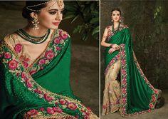 Indian wedding wear saree design bollywood bridal pakistani pure silk green sari…