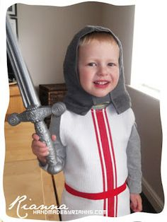 Hand Made By Rianna: St. George's Day - Knight's Costume Use cowl as helmet St George Flag, George Kids, Saint George, Crazy Costumes, Diy Costumes, Halloween Costumes, Costume Ideas, Clever Costumes, Halloween Ideas