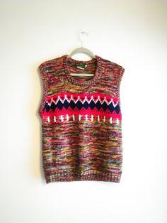 Vintage Mac Fane Men's Ski Lodge Knit Sweater Vest  Size M / Hipster / Unisex / Boyfriend Sweater Vest / Pull Over by JulesCristenVintage on Etsy