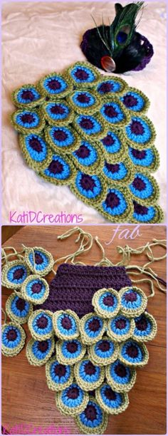 Crochet Peacock Feather Motif Patterns - Crochet Peacock Inspired Baby Cocoon Photo Prop Paid Pattern