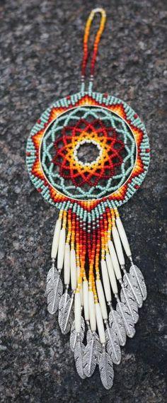 Native American (Oglala Lakota) Handmade Beaded Fringed Dreamcatcher