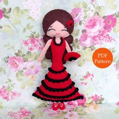 Spanish Flamenco Dancer. Felt Doll. PDF Pattern. on Etsy, US$5.00