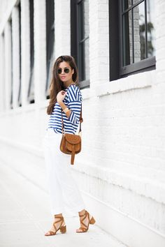 Summer Stripe Outfit white pants Chloe Brown Suede Mini Hudson Crossbody Bag with TasselTommy-Bahama-2