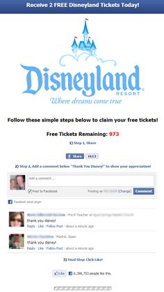 Facebook Scam Alert: Get 4 FREE Disneyland Tickets (Merry Christmas)