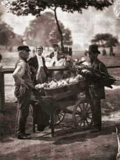 1877: Victorian 'Mush-Fakers' and ginger beer makers with their cart. Original Publication: From 'Street Life In London' by John Thomson and Adolphe Smith - pub. 1877 (Photo by John Thomson/Hulton Archive/Getty Images)