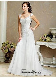 Beautiful Elegant Organza A-line Queen Anne Wedding Dress In Great Handwork