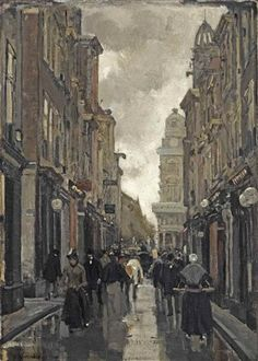 Floris Arntzenius (1864-1925) - A view of the Spuistraat, The Hague