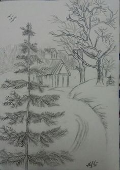 drawing Landscape drawing, Landscape drawing, Are you looking for some painting tutorial for home decor? If you have just renovated a new home or if you wan. Landscape Pencil Drawings, Landscape Sketch, Pencil Art Drawings, Landscape Art, Drawing Drawing, Art Drawings Sketches Simple, Easy Drawings, Arte Sketchbook, Sketch Painting