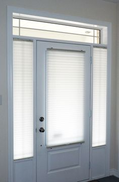 Pleated Shades Are An Economical Yet Highly Functional Window Covering Solution For Door Gl And Side Light Windows Shown Here In Fully Closed Setting
