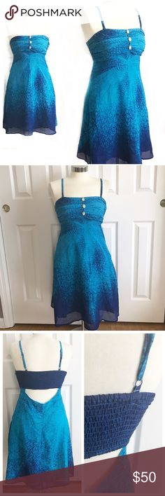 Free People Blue Sun Dress Beautiful blue dress from Free People. Spaghetti straps that are adjustable and removable for a strapless, bandeau look. Shell detail at bust. Stretch to fabric at bust. Zipper on side. Open back under bra line. Size medium. Lined. This is perfect for summer! Free People Dresses