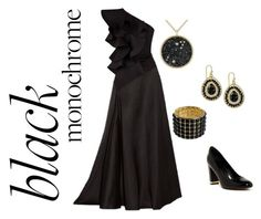 """Black Monochrome 2"" by wildorchid21-1 ❤ liked on Polyvore featuring Kenneth Jay Lane, Lanvin, 2028, Siobhan Molloy and Isolá"