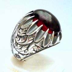 925 Sterling Silver Men's Ring with Red Amber Precious Silver Engraving Art