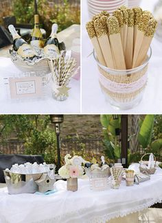 Twinkle, Twinkle Little Star Baby Shower.  Gorgeous details with glitter dipped mason jars