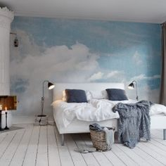 Rebel Walls - design your own wallpaper. Small clouds and a sky always blue. Your own sky wall mural.