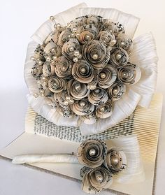 Items similar to Bridal bouquet / Bräutgam badges / wedding bouquet / wedding package / paper flower paper rose on Etsy Paper Wedding Decorations, Wedding Paper, Table Decorations, Wedding Arrangements, Wedding Bouquets, Music Paper, Book Folding, Book Pages, Groom