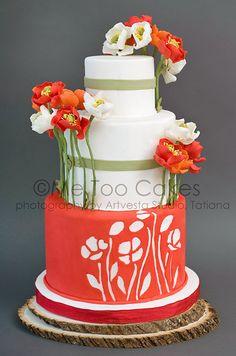 Torta de boda decorada con amapolas - Me Too Cakes