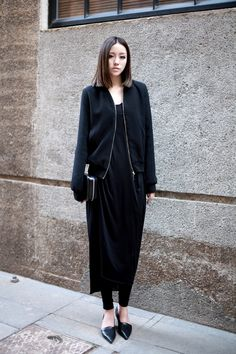 black layers & pointy flats #style #fashion