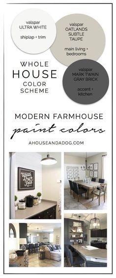 Whole House Color Scheme - Modern Farmhouse Paint Colors | ahouseandadog.com