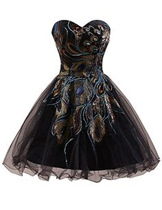 dbe31f213 Sarahbridal Peacock Embroidery Homecoming Dresses Short 2017 Prom Gowns for  Junors Black US2 at Amazon Women's Clothing store: