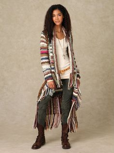 I just need this sweater in my life! -Tribal print, ankle length , fringed cardigan