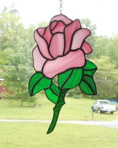 Stained Glass Rose Suncatcher - Handcrafted in Tennessee by CandJMountainGlass on Etsy