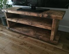 Rustic Norley Wood Widescreen Tv unit, finished in Dark Oak, Handcrafted by New Forest Rustic Furniture Tv Furniture, Rustic Furniture, Furniture Movers, Dark Wood Tv Stand, Rustic Wood Tv Stand, Pine Tv Unit, Rack Tv, Diy Tv Stand, Into The Woods