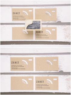 Die-cut business card on kraft paper with stamp.  #diecut #creative #businesscard #kraft #stamp